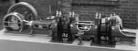 Liegender 2-Zylinder-Tandem-Gas-Motor